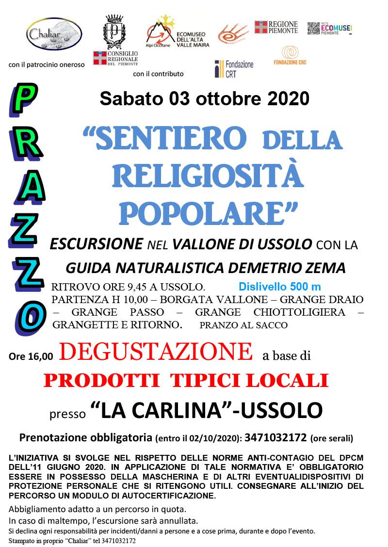 Escursione guidata Sabato 3 ottobre 2020 sul sentiero della Religiosità Popolare