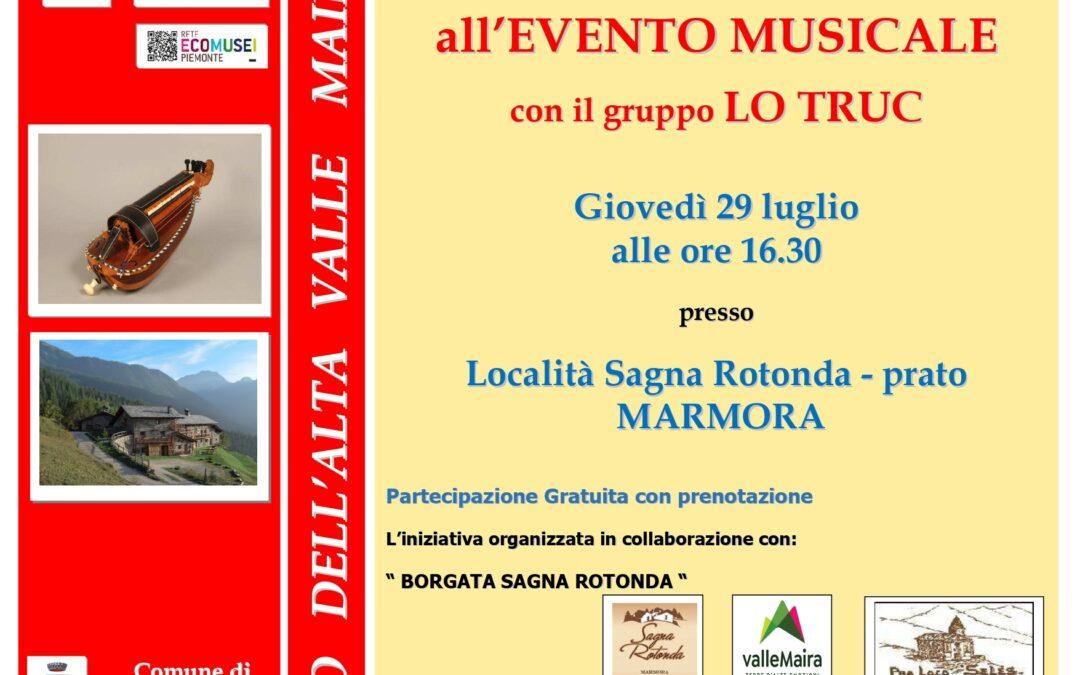4° RASSEGNA CINE&MUSICA ALL'ECOMUSEO: concerto LO TRUC a Marmora